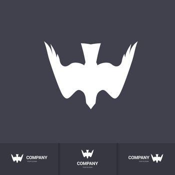 Stylized White Bird of Prey for Logo Template