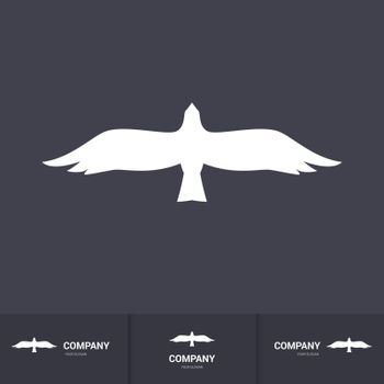 Stylized White Bird of Prey for Mascot Logo Template