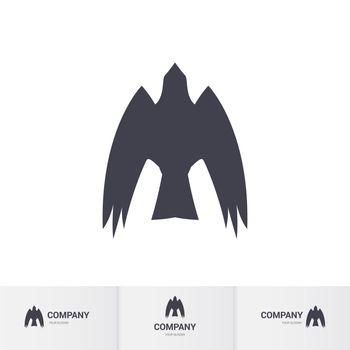 Simple Dark Bird of Prey for Mascot Logo Template