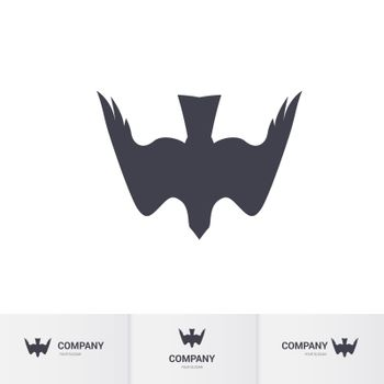 Stylized Bird of Prey for Mascot Logo Template on White Background