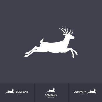 Illustration of Running Horned Deer Silhouette for Mascot Logo Template on Dark Background