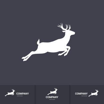 Running Horned Deer Silhouette for Mascot Logo Template on Dark Background
