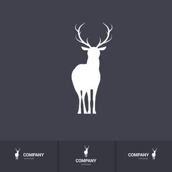 Standing Horned Deer Silhouette for Mascot Logo Template on Dark Background