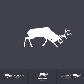 Simple Horned Deer Silhouette for Mascot Logo Template on Dark Background