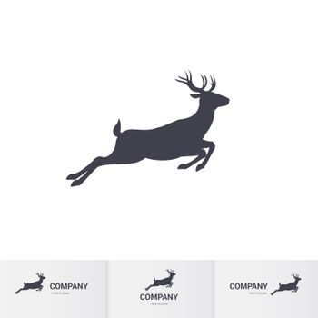 Running Horned Deer Silhouette for Mascot Logo Template