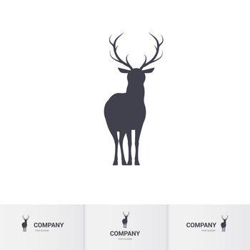 Standing Horned Deer Silhouette for Mascot Logo Template on White