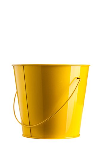 small yellow bucket isolated on white background