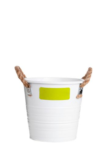 white bucket with rope handles