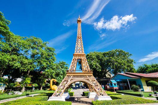Eiffel tower replica in Mini Siam Park at Pattaya Chonburi provi