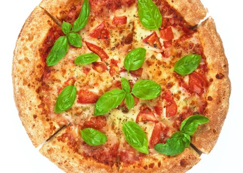 Homemade Freshly Baked Margherita Pizza with Tomatoes, Cheese and Basil Leafs ross Section on White background. Top View