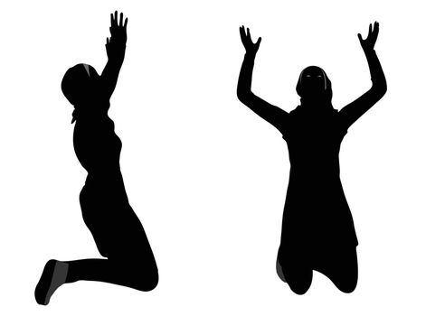 EPS 10 vector illustration of Muslim woman silhouette in pray pose