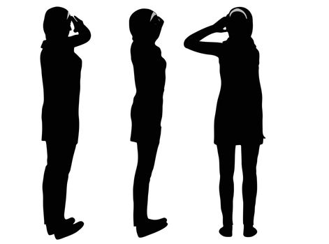 EPS 10 vector illustration of Muslim woman silhouette in giving salute  pose