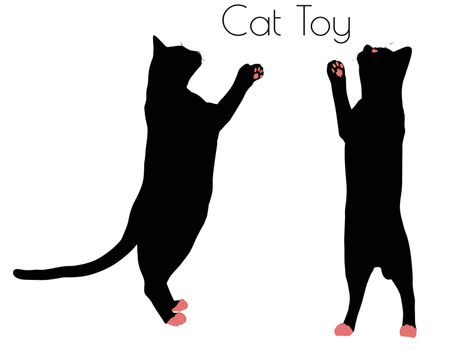 EPS 10 vector illustration of cat silhouette with Toy Pose