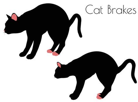 EPS 10 vector illustration of cat silhouette in Brake Pose