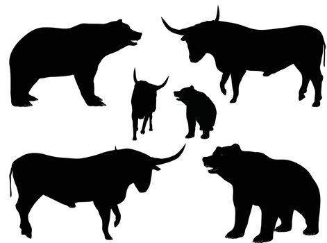 EPS 10 vector illustration of bear and bull silhouette