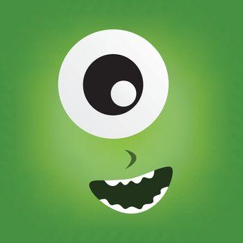 green monster character face