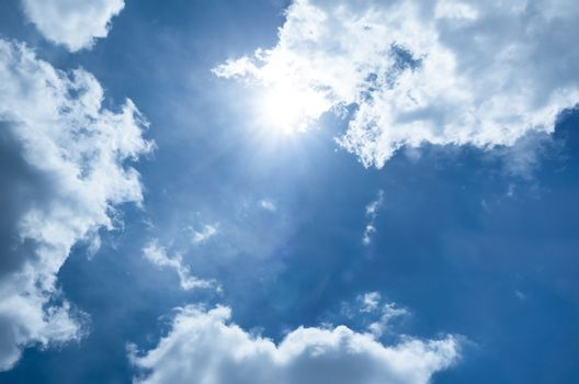Sun on blue sky with tiny cloud .