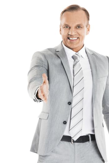 Business man stretching out hand for shaking
