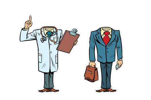mockup layout without a head doctor and businessman