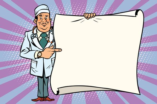 Smiling doctor and save space mockup background
