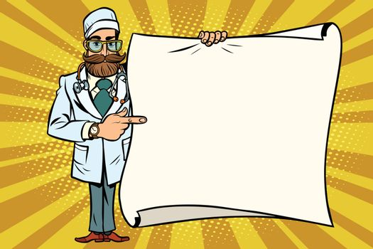hipster doctor shows at a mockup copy space poster