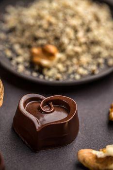 Heart shaped chocolate pralines