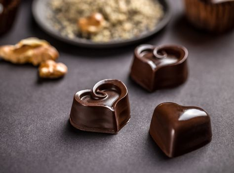 Dark heart shaped chocolate