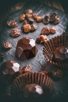 Chocolate praline with raisin