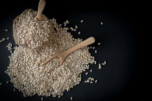 pearls barley grain seed on background