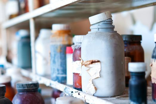 Old chemical containers, obsolete laboratory