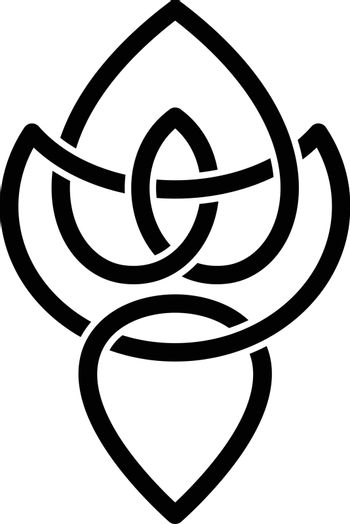 overlapping line floral shape - celtic theme sign
