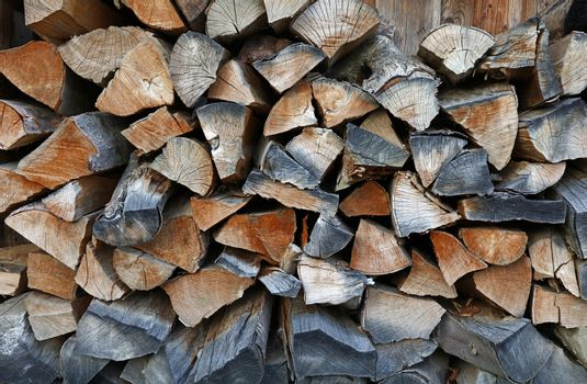Firewood stock for winter wood fuel in stack