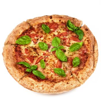 Freshly Baked Margherita Pizza with Tomatoes, Cheese and Basil Leafs closeup on White background
