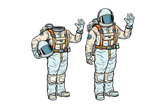 Astronaut in spacesuit and mockup without a head