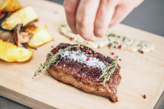 Grilled juicy beefsteak