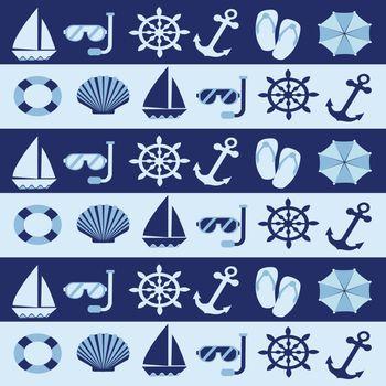 Summer sea, beach seamless patterns, summer vacation symbols