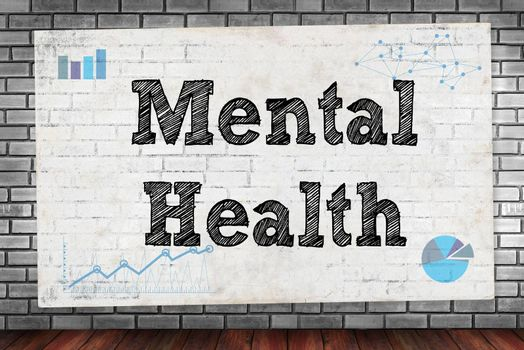 Mental Health on brick wall and poster concept