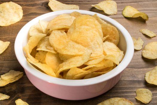 potato crisps in a bowl