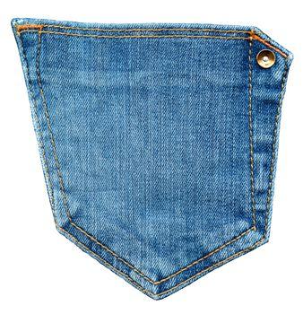 Jeans pocket. Shabby blue denim