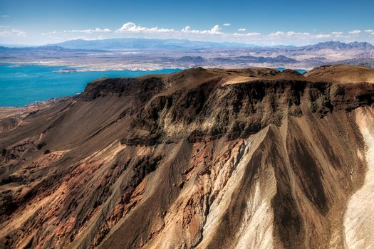 Aerial view of the mountains next to Lake Mead