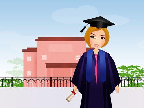 graduate girl at school