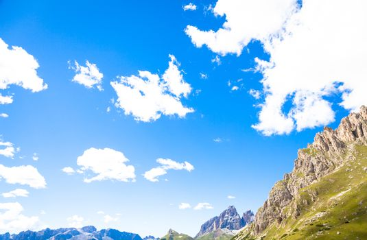 Blue sky on Dolomiti Mountains in Italy