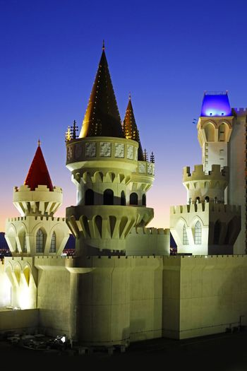 Las Vegas, Nevada, USA - September 19, 2011: The Excalibur Hotel & Casino is shown in this image taken at night on September 19, 2011 in Las Vegas, Nevada.