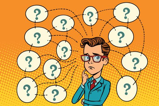 Businessman solves the problem, questions and reflections