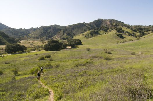Grasslands Trail overlooking park, Malibu Creek State Park, CA