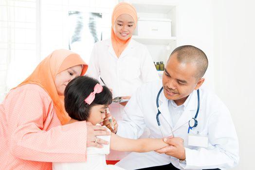 Children receiving vaccination