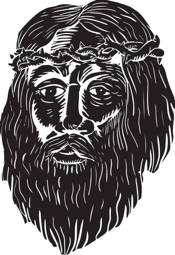 Christ Crown of Thorns Woodcut