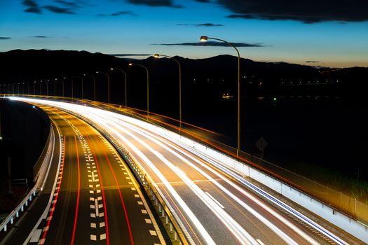 Motorway highway at night