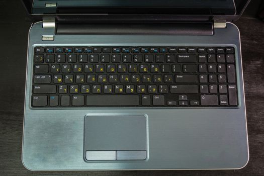 Keyboard with letters in Hebrew and English - Laptop keyboard - Top View