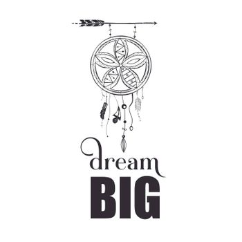 Dream big quote poster design with creative dream catcher visual